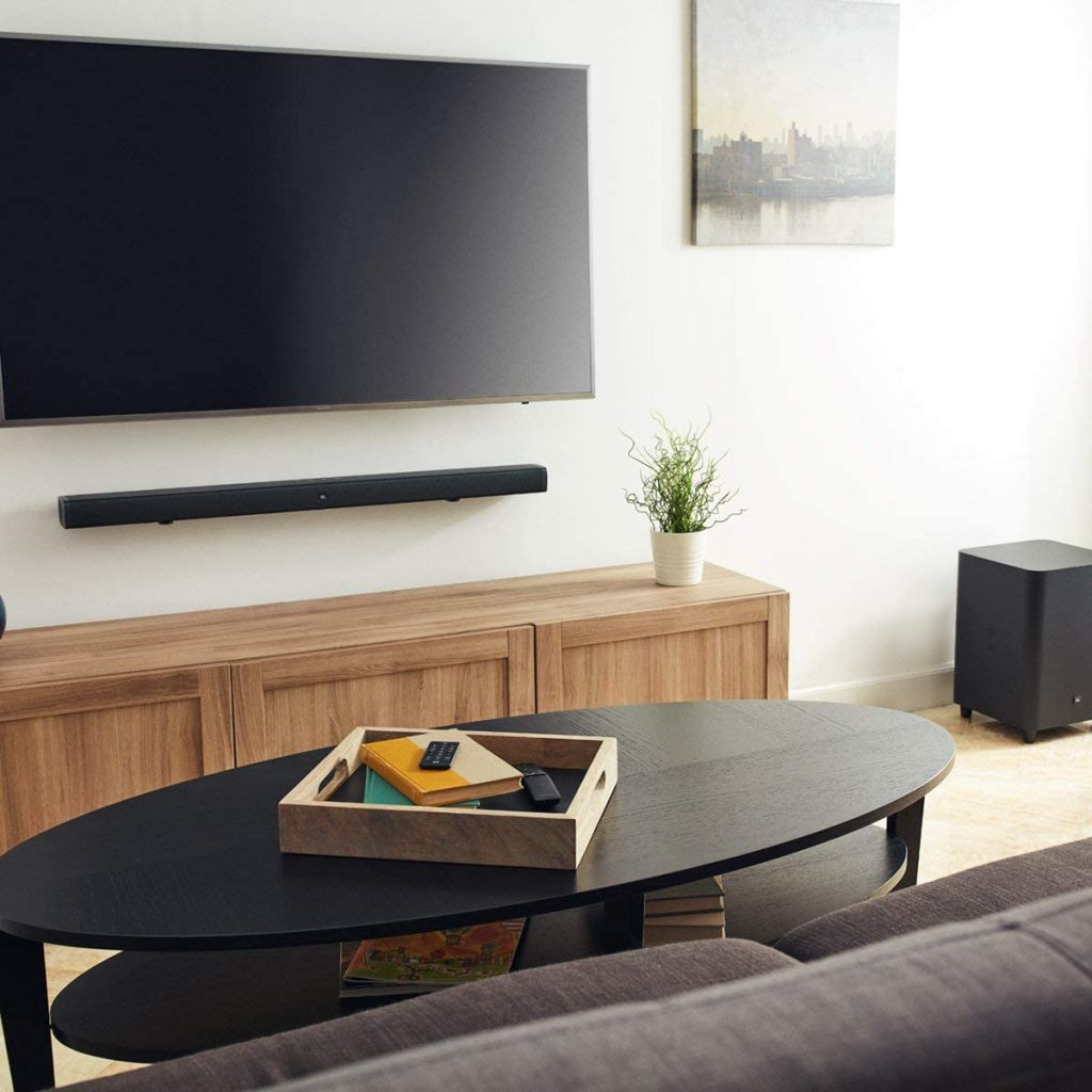 JBL 3.1 Soundbar sound system in a living room side view