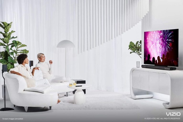 VIZIO Elevate used with a tv in a living room
