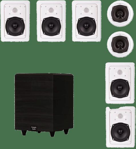 Acoustic Audio 7.1 Speaker System Flush Mount 7 Speaker Set