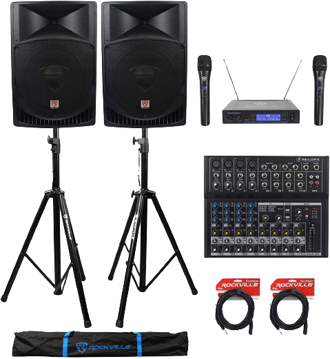 "Rockville RPG15 15"" 2,000W Powered PA/DJ Speakers"