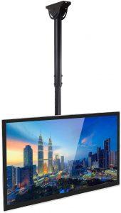 Mount-It! TV Ceiling Mount Bracket, Adjustable Height Full Motion 360 Deg Rotation Tilting Swiveling for Flat Panel
