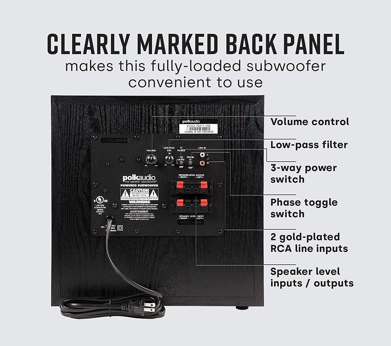Polk Audio PSW10 back panel