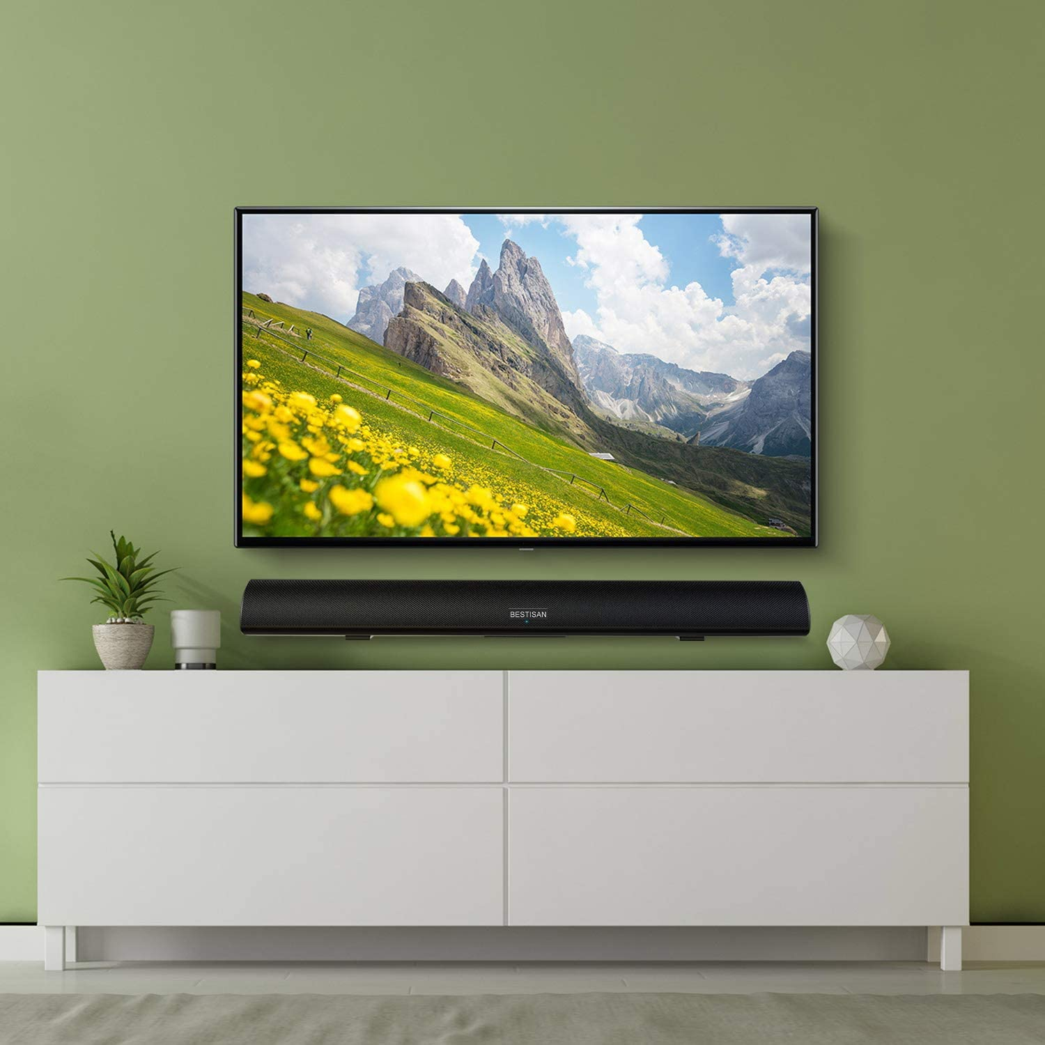 tv and BYL Bestisan S9920on wall