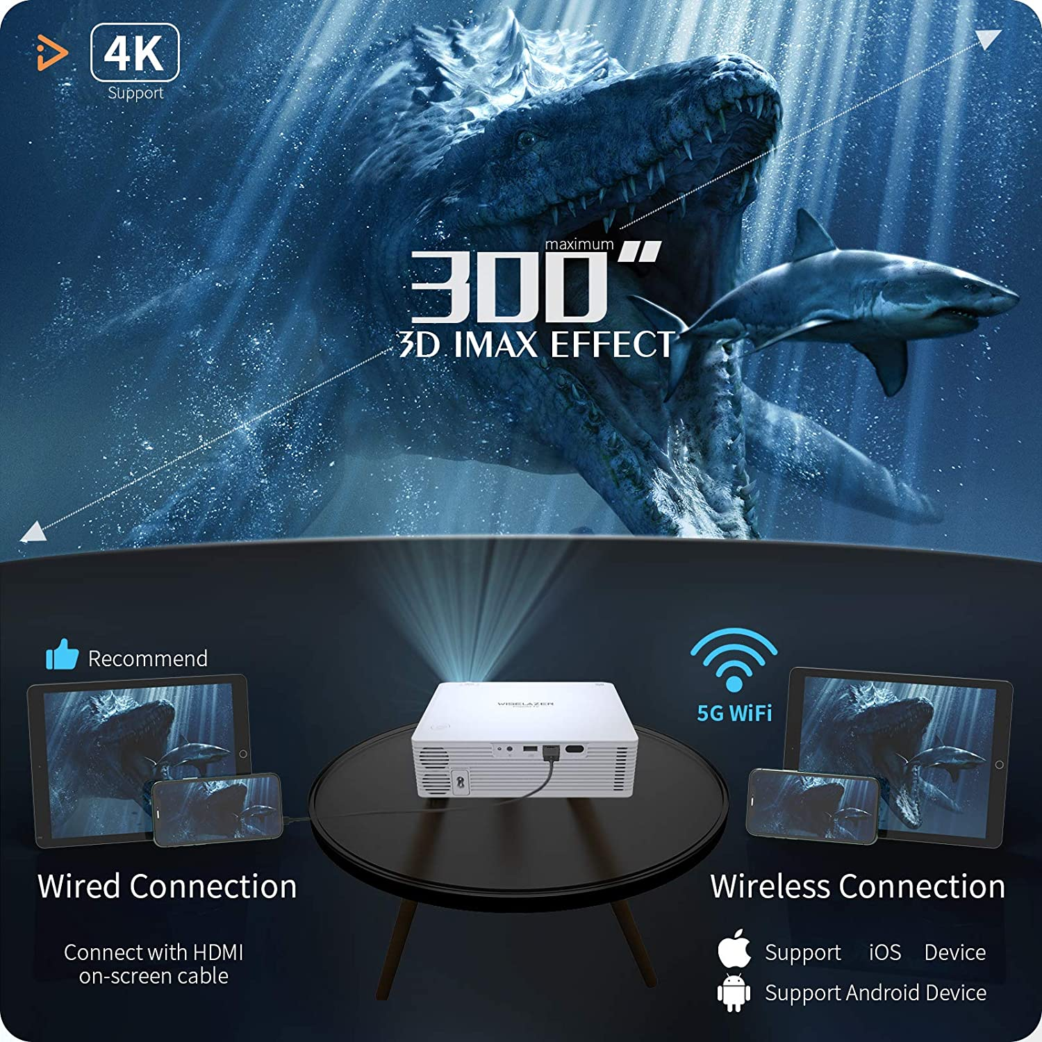 WISELAZER Home Movie Projector 3D effect feature