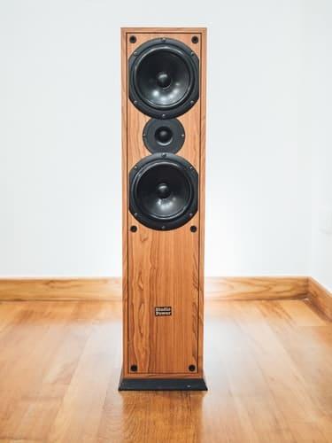 speaker on wooden floor