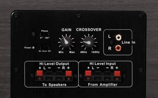 Acoustic Audio PSW-10 volume controls and line hi-level input and output