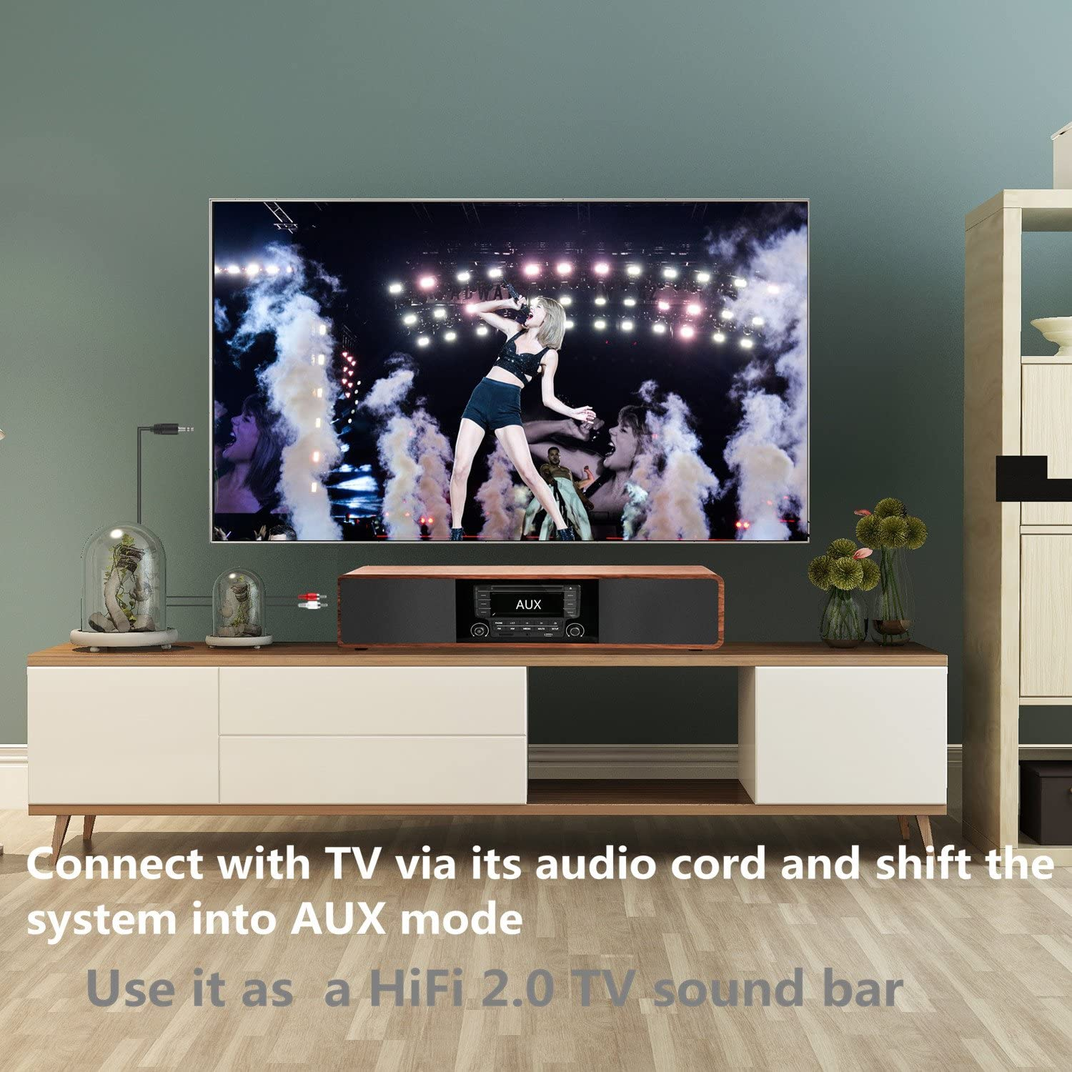 KEiiD Bluetooth Stereo System on wooden cabinet