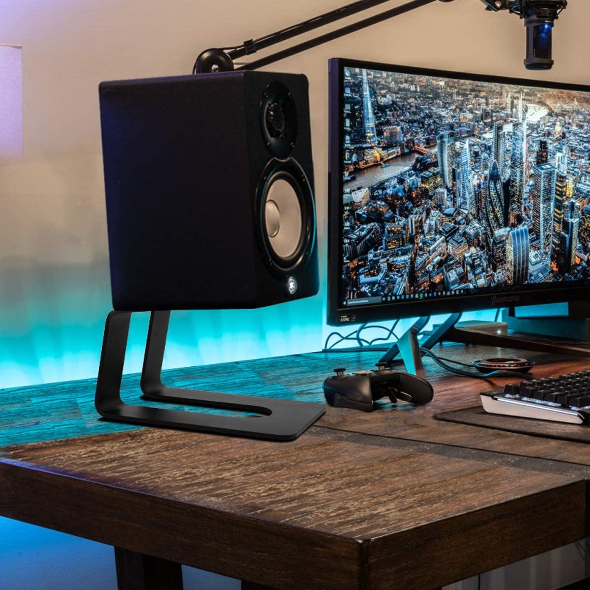 Stageek Aluminum Desktop Speaker Stands on wooden table