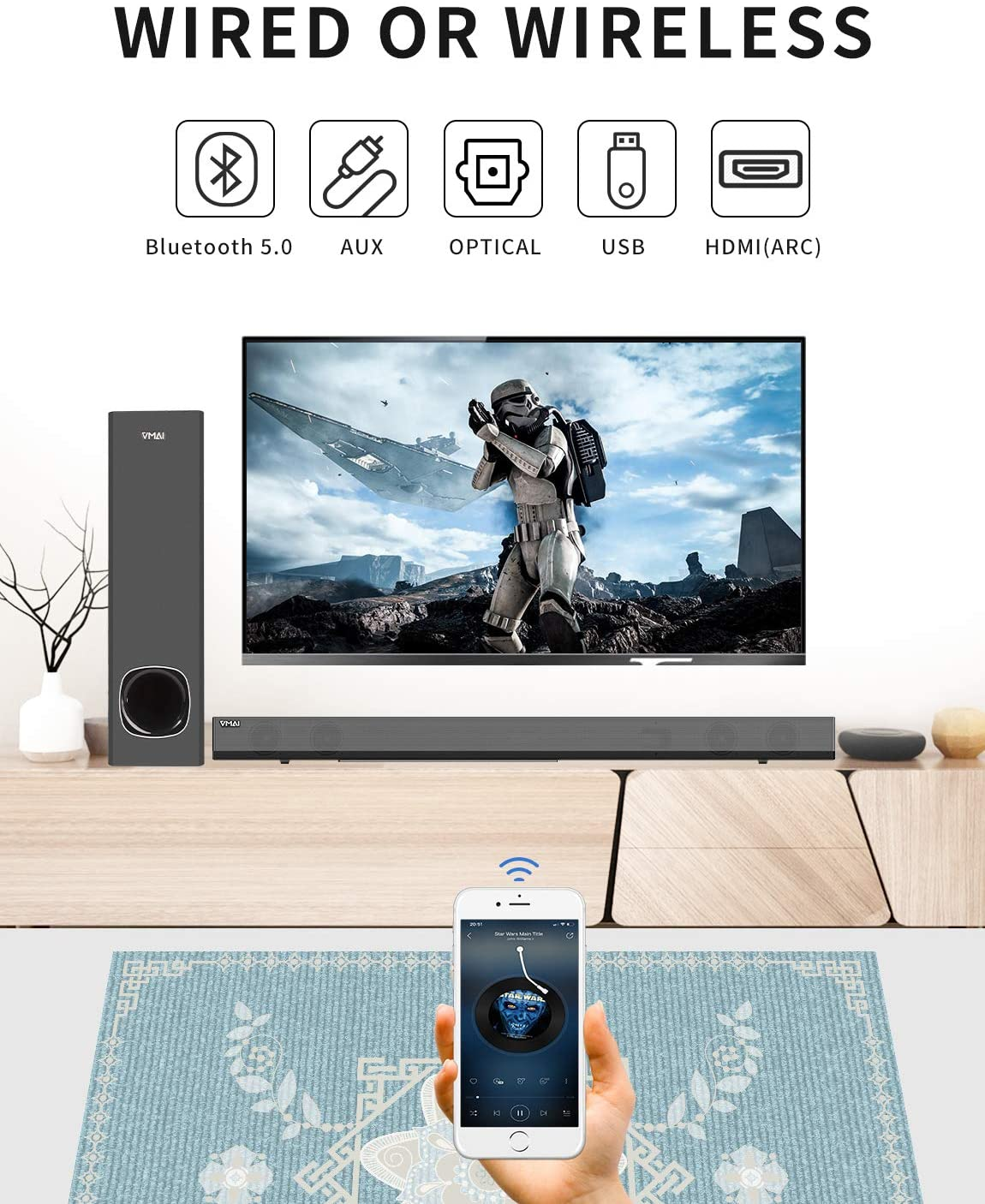 connectivity and compatibility of VMAI Soundbar with Subwoofer