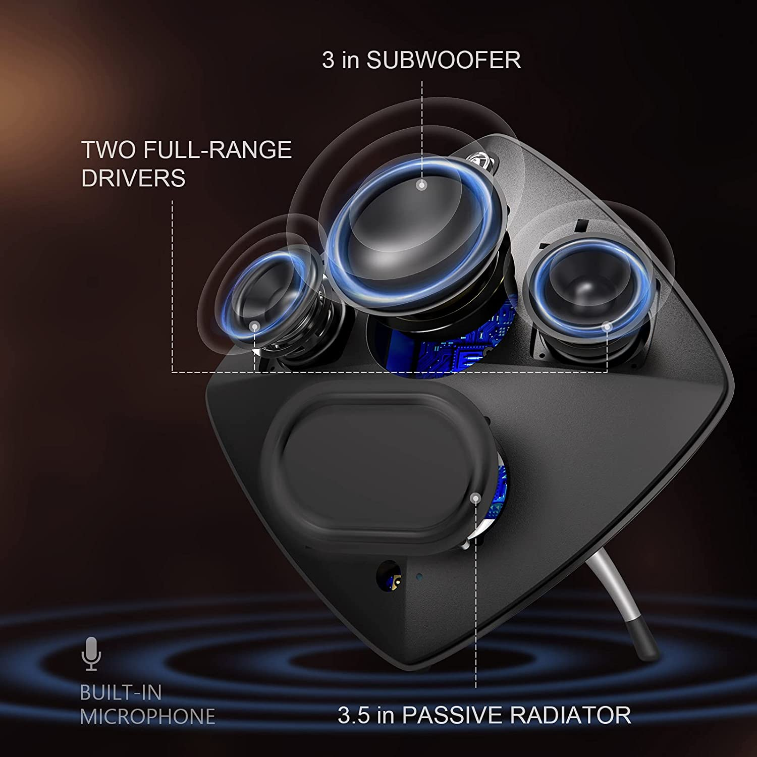subwoofer and full range drivers of ASIMOM Home Bluetooth Speaker