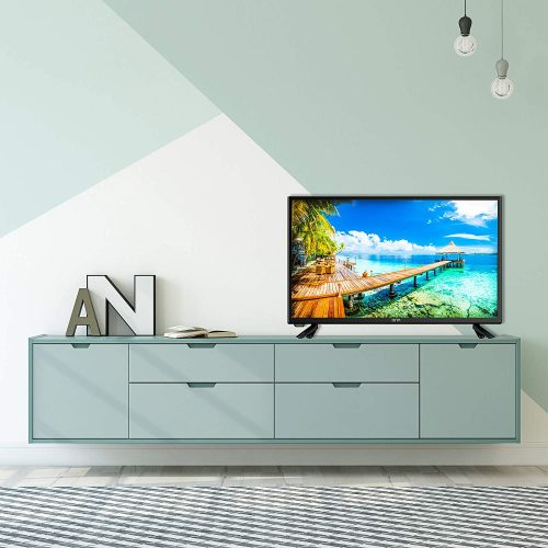 32in Onn tv on cabinet