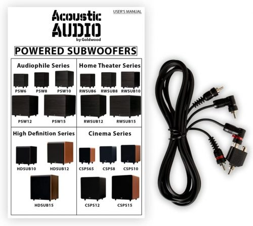 Acoustic Audio PSW-10 user manual and cable