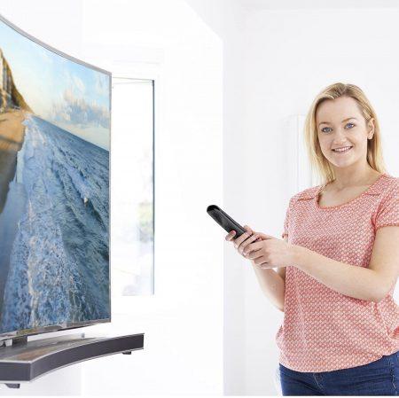 lady holding roku tv remote