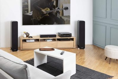 Denon AVR-S750H Receiver displayed in a living room table