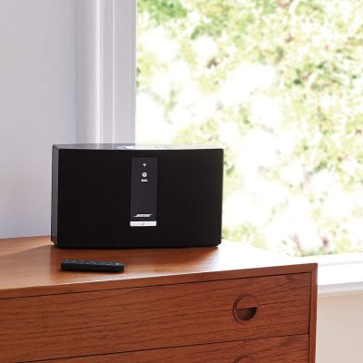 Bose SoundTouch 20 placed above a wooden drawer