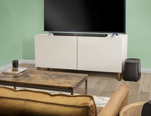 Polk Audio MagniFi Max SR Home Theater Surround Sound Bar scattered in a living room