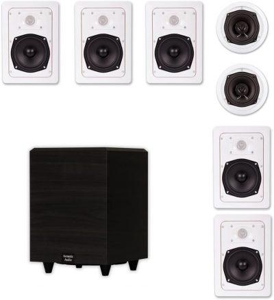Acoustic Audio 7.1 Speaker System Flush Mount 7 Speaker Set and 8 Powered Sub