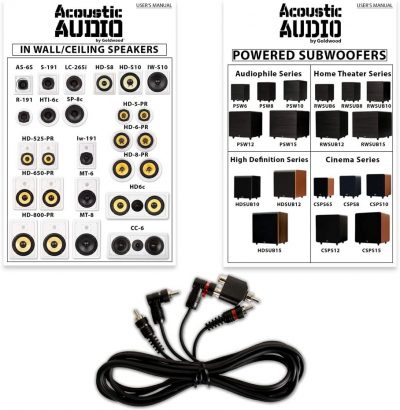 Cord from Acoustic Audio 7.1 Speaker System Flush Mount 7 Speaker Set and 8 Powered Sub