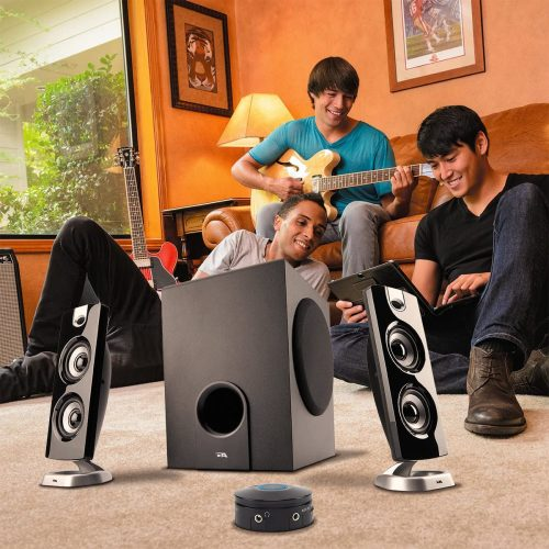 A group using Cyber Acoustics CA-3602FFP 2.1 Speaker Sound System with Subwoofer and Control Pod with laptop