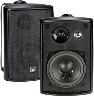 Dual Electronics LU43PB 3-Way High Performance Outdoor Indoor Speakers with Powerful Bass
