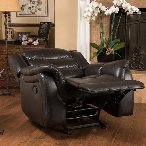 Great Deal Furniture Merit Black Leather Recliner stretched horizontally