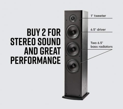 Polk Audio T50 150 Watt Home Theater Floor Standing Tower Speaker - Deep Bass Response