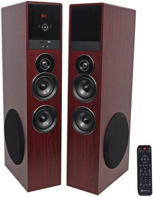 Rockville TM80C Cherry Powered Home Theater Tower Speakers