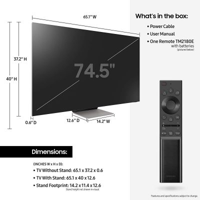 Dimensions of SAMSUNG 75-inch Class QN900A Series