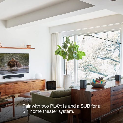Sonos Playbar mounted on wall underneath TV in the living room