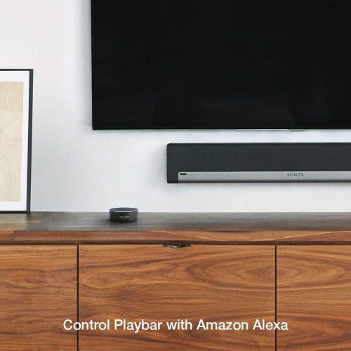 Sonos Playbar mounted on wall underneath TV with Amazon Alexa
