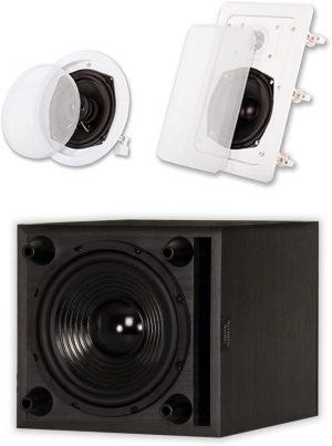 Speaker from Acoustic Audio 7.1 Speaker System Flush Mount 7 Speaker Set and 8 Powered Sub