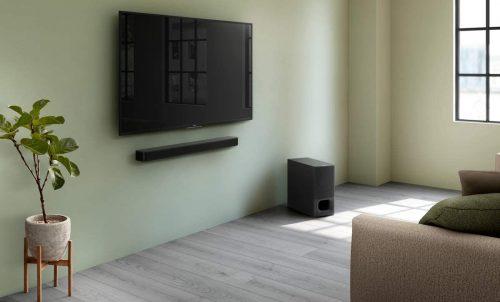 TV and soundbar mounted on the wall