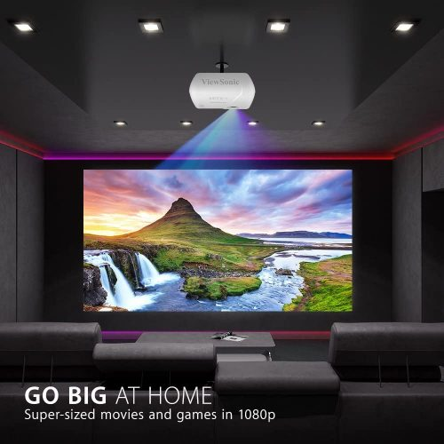 ViewSonic 3200 Lumens Full HD 1080p Shorter Throw Home Theater Projector in a home theater