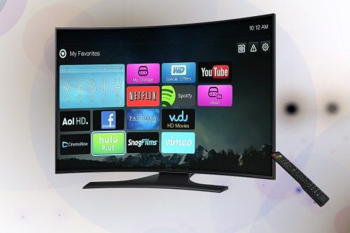 curved tv and remote