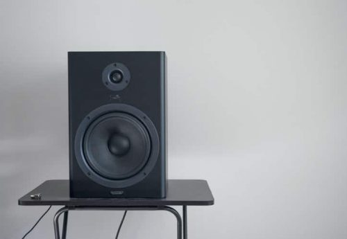 subwoofer on a glass table