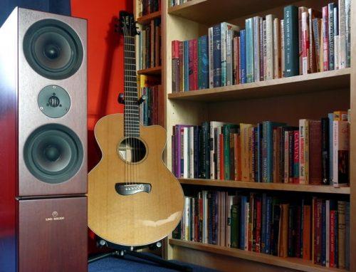 brown speaker, guitar and bookshelf