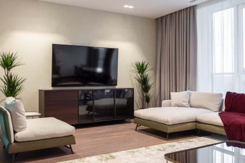 mounted tv on a wall