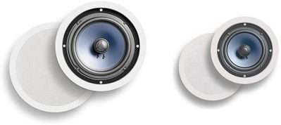 White in-ceiling speakers with paintable grille