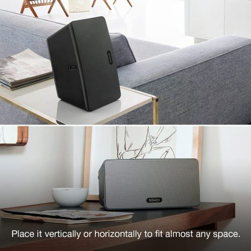 Sonos Play 3 placed above a table vertically and horizontally