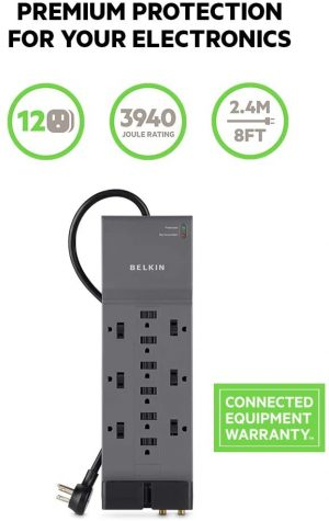 Belkin 12-Outlet Power Strip Surge Protector with description
