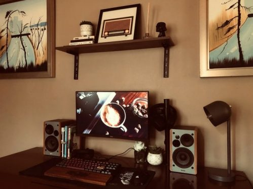 Computer set with speakers in sepia tone