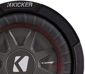 Up close shot of Kicker 8 Inch Dual 600 Watt CompRT 2 Ohm Shallow Slim Car Subwoofer
