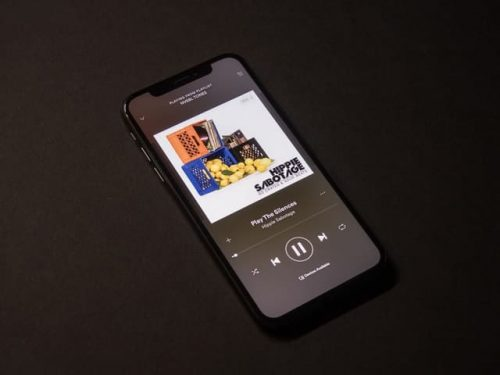 Phone using the Spotify app