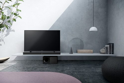 Sony HT-CT290 under TV on a lit room