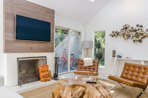 TV in a rustic setting