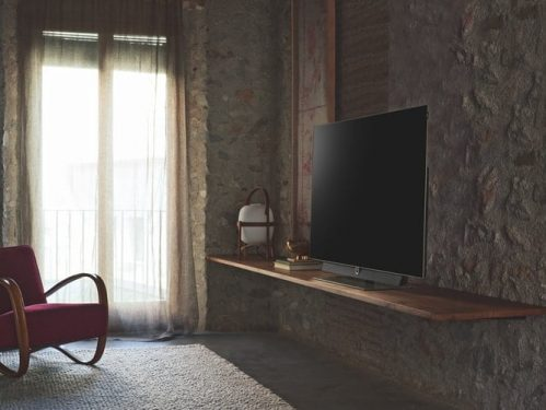 TV in a rustic wall
