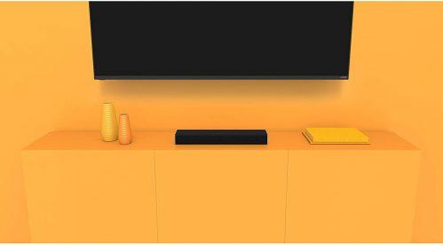 Vizio 2.0 Bluetooth Soundbar in a tv and orange wall