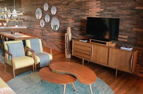 Wooden style living room with tv