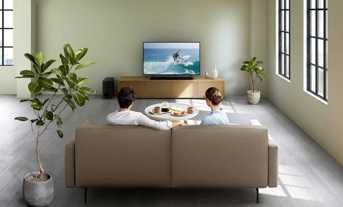 couple with Sony HT-S350 watching TV