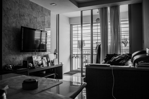 photo of living room in black and white